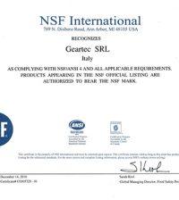 marchio NSF polimeri Geartec